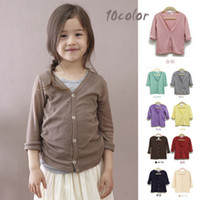 Wholesale Brown Child Cardigan - Wholesale-Hot Sale Autumn New Baby Girl Knitwear Solid 100% Cotton Soft All-Match Children Cardigan Kid Casual Jacket Clothing Coat