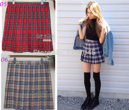 Wholesale Short Pleated Plaid Skirt - Wholesale-Free Shipping 8 Color Plaid Pleated Preppy Style Japanese Student School Uniform Short Cosplay Skirt