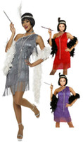 Wholesale Flapper Dress Free Shipping - Wholesale-free shipping 459 G58 1920s Roaring 20s Black Red Flapper Costume Charleston Dress with boat