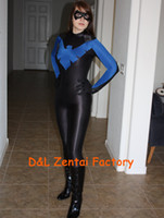 Wholesale Nightwing Costumes - Wholesale-Free Shipping DHL New Arrival Sexy Lady Sexy Blue and Black Female Nightwing Zentai Costume Lycra Spandex Halloween Costume