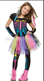 Wholesale skeleton costume child - Wholesale-Free shipping,children colorful rainbow pink skeleton dress , halloween party costume for kid ,dress+trouses+sleeve covers