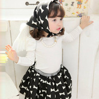 Wholesale Cotton Skirt Clothing - Wholesale-KNB new designer girl's bowknot clothes set girl's top+tutu skirt +headband 3pcs sets kids cotton clothing suits ACS041