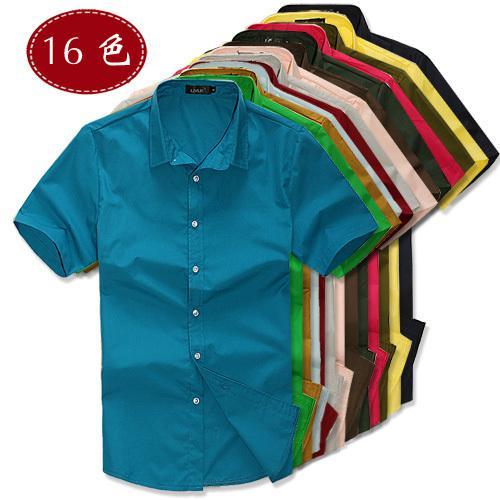 tüm maç Men düz renk gömlek moda şeker renk erkek gündelik kısa kollu gömlek .Summer Toptan adam bahar Erkek Shirts.16 renkleri
