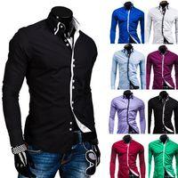 benzersiz yaka tasarım gömlek toptan satış-Toptan-Ücretsiz Nakliye Bahar Erkek Uzun Kollu Gömlekler Çift Yaka Düğme Benzersiz Tasarım Slim Fit Marka Gömlek Erkekler