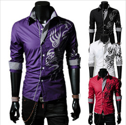 Mens Plus Size Silk Shirts Canada - Wholesale-Mens Long Sleeve Silk Shirt New Arrival Dragon Printed Shirt High Quality Cotton Male Dress Shirt Plus Size,GMLS022