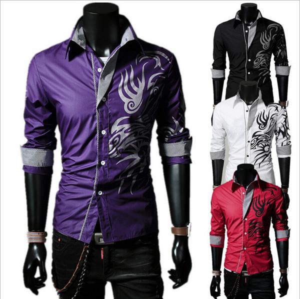 Wholesale-Mens Long Sleeve Silk Shirt New Arrival Dragon Printed Shirt High Quality Cotton Male Dress Shirt Plus Size,GMLS022