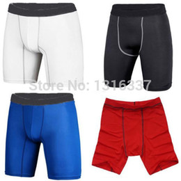 Wholesale Spandex Short Leggings - Wholesale-2015 Men Sports Compression Wear Under BaseLayer Short Pants Athletic Tights Leggings FREE shipping