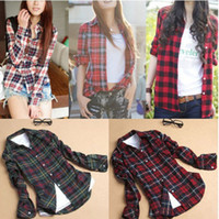 Wholesale Plaid Womens Shirts Long Sleeves - Wholesale-2015 New Fashion Womens Tops Casual Blouse Turndown Collar Long Sleeve Plaids Print Pattern Flannel Shirt J3820