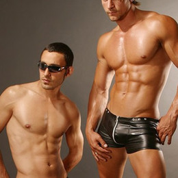 Wholesale Open Crotch Male - Wholesale-4 colors Mans Boxers Faux Leather Sexy Zipper Open Crotch Underwear Mens Trunk Man Boyshort Male boxer Trunks Shorts Gay tungas