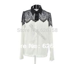 Blusas brancas de manga comprida xxl on-line-Atacado-Drop Shipping 2015 nova primavera Casual manga longa das mulheres Lace Chiffon camisa Blusas Tops preto / branco Plus Size M / L / XL / XXL 6747