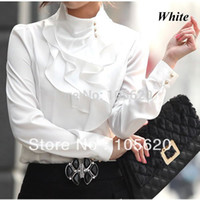 Wholesale White Ruffled Blouses For Women - Wholesale-Promotional new fashion women ruffle shirts OL dress shirt fashionable tops faux long sleeve sexy blouse for office lady