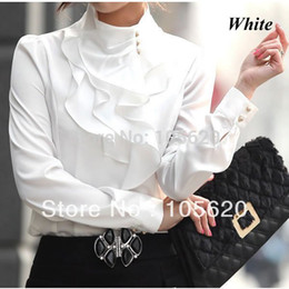 Wholesale Purple Blouses For Women - Wholesale-Promotional new fashion women ruffle shirts OL dress shirt fashionable tops faux long sleeve sexy blouse for office lady