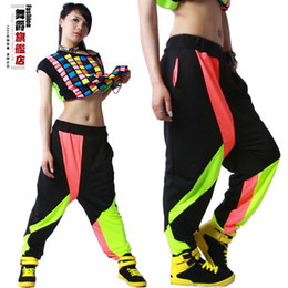 Wholesale Dance Costume Hip Hop - Summer Sweatpant Costumes wear harem thin patchwork jazz sports trousers Hip Hop Dance Pants