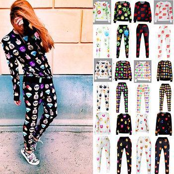 All'ingrosso-2015 New Fashion Womens Emoji 3D stampato Pant Donne Sportwear Emoji Casual Sportwear Outfit Emoji Jogger LJ-C003