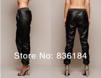 Wholesale Women Faux Leather Joggers - Wholesale-2015 black Loose Leather Jogging Pants Harem Faux Leather Sweatpants Joggers Street Fashion Women Pants