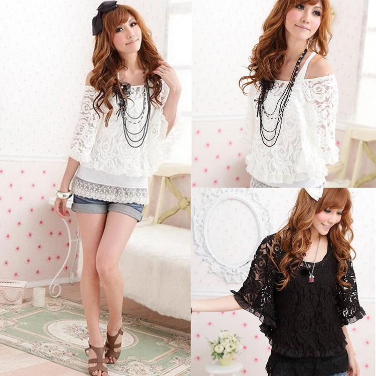 Al por mayor-FASHION BATWING MANGA ENCAJE BLUSA TOP + CAMI WHITE S WF-06272