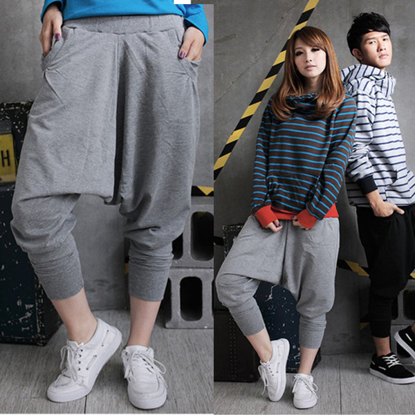 Women Hip Hop Cotton Blend Loose Style Hot Harem Pants Low Drop Crotch Trousers