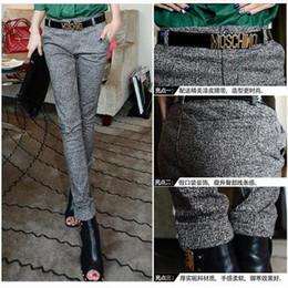 Al por mayor-S ~ XL 2015 nuevos pantalones de lápiz de lana de invierno para mujeres de la aptitud Formal de la oficina de la mujer pantalones de trabajo de oficina desgaste gris desde fabricantes