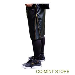 Wholesale High Waist Leather Hot Pants - Wholesale-HOT High Quality PU Faux Leather New Mens Shorts Hip Hop Brand Style Short Men Gold Zipper Black Snakeskin