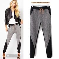 yeni moda kış kadın pantolonu toptan satış-Toptan-Kadın Spor Harem Pantolon Sweatpants Yeni 2015 Moda Sonbahar Kış Casual Pathwork Kadınlar Için Spor Pantolon Sıska Pantolon