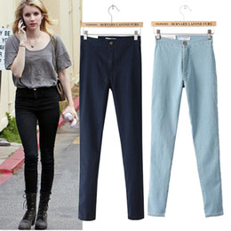 Wholesale Korean Women S Jeans - Wholesale-New Arrivals 2015 Hot Sale Women Fashion Korean Style Vintage Jeans Pants Elastic Denim High Waist Pencil Pants ZP00783733