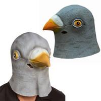 máscara de pombo venda por atacado-Atacado-Hot Vender Máscara De Látex Chique Halloween Cabeça Do Pombo Creepy Teatro Traje Prop Novelty Chapéus Frete Grátis