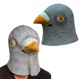 pigeon props NZ - Wholesale-Hot Sell Latex Mask Chic Halloween Pigeon Head Creepy Costume Theater Prop Novelty Hats Free Shipping