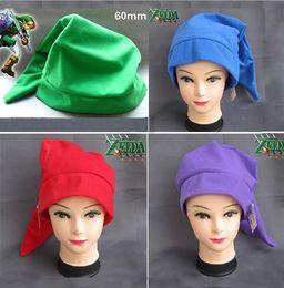 Wholesale Caps Comics - Wholesale- LEGEND OF ZELDA Plush Hat Cap Green Red Green purple Free shipping