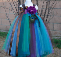 Wholesale Casual Peacock Dresses - Wholesale-2015 Pageants Feather Peacock Flower Girls Dress Pretty Girls Flower Tutu Dress For Birthday Flower Girl Photo props Size 2T-10Y