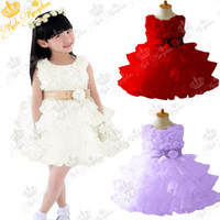 Wholesale Toddlers Tutu Bridesmaid Dresses - Wholesale-New 2015 Flower Girl Christening Wedding Party Pageant Dress Baby First Communion Dresses Toddler Gowns Child Bridesmaid Dress