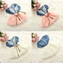 Wholesale Denim Kids Dress - Wholesale-2015 Hot Korean Girls Kids Flower Lace Belt Denim Tulle Full Dress Princess