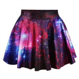 Wholesale Digital Printed Satin - Wholesale-2015 Time-limited New Arrival Polyester Satin Saias Tropical Leather Skirt Galaxy Space Digital Printing The Mini Women Skirts