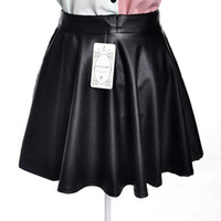 черные юбки оптовых-Wholesale-Women Lady Girl Leather Sexy Short Mini Pleated PU Skirt Black elegant elastic waist puff bust skirt Drops hipping And wholesale