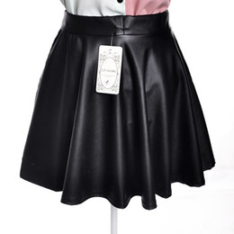 Wholesale Girls Leather Mini Skirts - Wholesale-Women Lady Girl Leather Sexy Short Mini Pleated PU Skirt Black elegant elastic waist puff bust skirt Drops hipping And wholesale