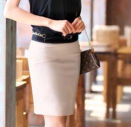 Wholesale Plus Size Pencil Skirts Green - Wholesale-Hot Sale 2015 Summer Women Slim Hip Career Short Skirts Ladies Sexy High Waist Knee-Length Pencil Skirt 4 Colors Plus Size 4XL