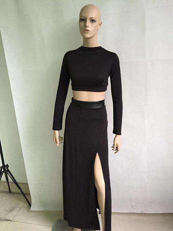 d9d35f13ac3b0 Wholesale-Fashion Two Piece Skirts Sets for Women Long Sleeve Crop ...