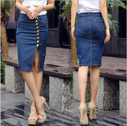 Wholesale 4xl Jeans For Women - Wholesale-Plus size S-5XL 2015 summer denim skirts womens pencil jeans slim casual denim skirts front button for women free shipping