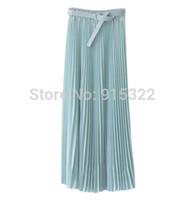 Wholesale Womens Long Chiffon Maxi Skirt - Wholesale-2015 Spring Summer Fashion Long Chiffon Skirts Female Candy Color Pleated Maxi Womens Skirts