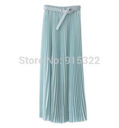 Wholesale Chiffon Skirt Womens - Wholesale-2015 Spring Summer Fashion Long Chiffon Skirts Female Candy Color Pleated Maxi Womens Skirts