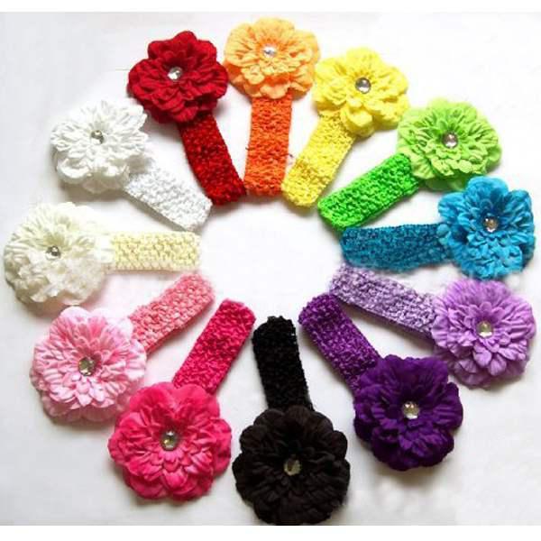 Großhandel Baby Stirnband Häkeln Kinder Blume Hairbow Handgestrickt