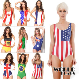 Wholesale-New Swimwear Women 2015 Black Milk Swimwear Word Flags One Piece Swimsuit Plus Size XL Women Vintage Bathing Suit One Piece Sexy Deals