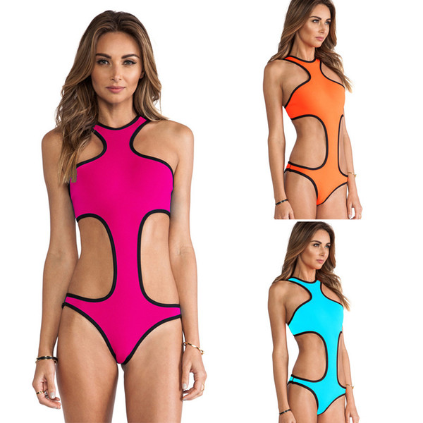 Wholesale-2015 one piece monokini swimsuit high neck swimsuit bathing suit backless sexy cut out swimwear ladies swim suits modest