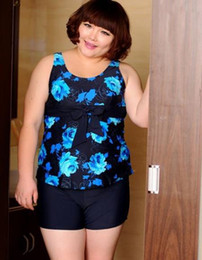 Wholesale Swimsuits For Big Girls - Wholesale-Fat girls big super large plus size 4xl,5xl,6xl,7xl swimming boxers type swimsuits female split 2pieces sets swimwear for women