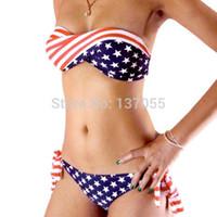 Wholesale Bikini Sale Usa - Wholesale-ON SALE 2015swimsuit swimwear Women Sexy bikini STARS STRIPES USA Flag PADDED TWISTED BANDEAU swim suit tube swim wear SCW-12017