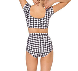 Wholesale-Drop Shipping Swimwear Tankini Swimsuits Digital Printing Sexy HOUNDSTOOTH NANA SUIT BOTTOM Women Swimsuit with Sleeves