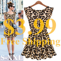 Wholesale Girl Leopard Sexy - Wholesale-New Hot Sale Sexy Casual Women Dress Leopard Print Sleeveless Ruffles Vestidos Femininos Dresses Girl Sundress Women Clothing