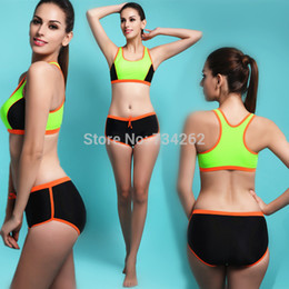 Wholesale Bodybuilding Bikini - Wholesale-Sports Push Up Fashion Sexy Bikini Tight Bodybuilding Bathing Suit Women Swimsuit Set Swimwear