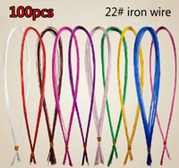 Wholesale Iron Materials - Wholesale-100pcs lot 22# Commonly used iron Wire For DIY nylon stocking flower 11 colors to choose Ronde flower Material Free shipping!