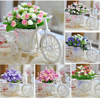 Wholesale Small Christmas Balls - Wholesale-new arrival artificial flowers potted roses series rattan vase vintage romantic home decoration Autumn small ball tree