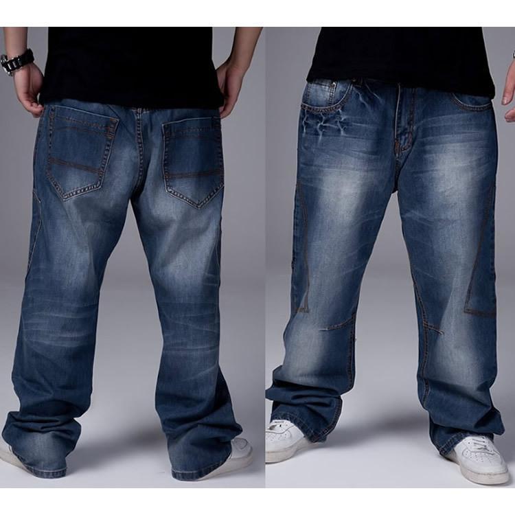 c988a7052f1 Compre Atacado 2015 New Baggy Calças Jeans Men Famosa Marca Rock Desgaste  Denim Jeans Plus Size Grande 30 42 6xl Plus Size Mens De Stunning88